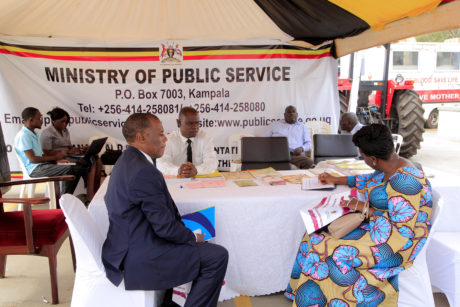 MINISTRY OF PUBLIC SERVICE STALL AT PARLIAMENT CLIENTS BEING SERVED