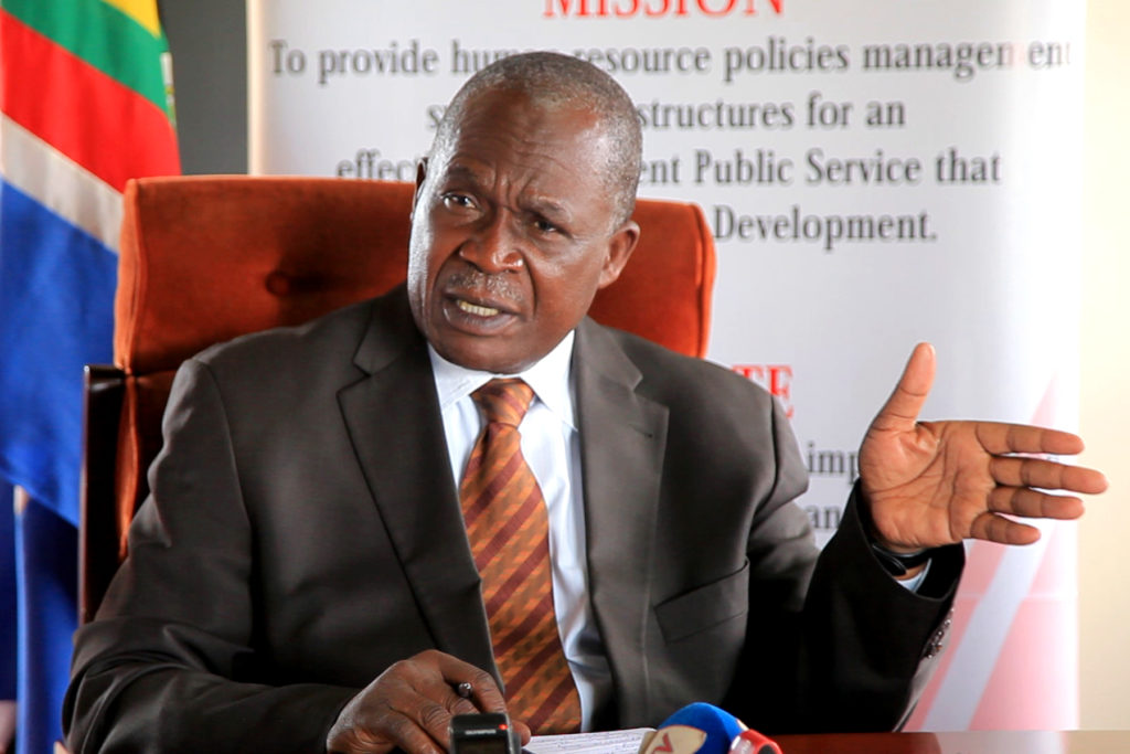 MINISTRY OF PUBLIC SERVICE BRIEFS MEDIA DURING A PRESS CONFERENCE ON SALARIES, PENSIONS AND GRATUITY AT MINISTER'S BOARDROOM TODAY 6TH DECEMBER, 2018
