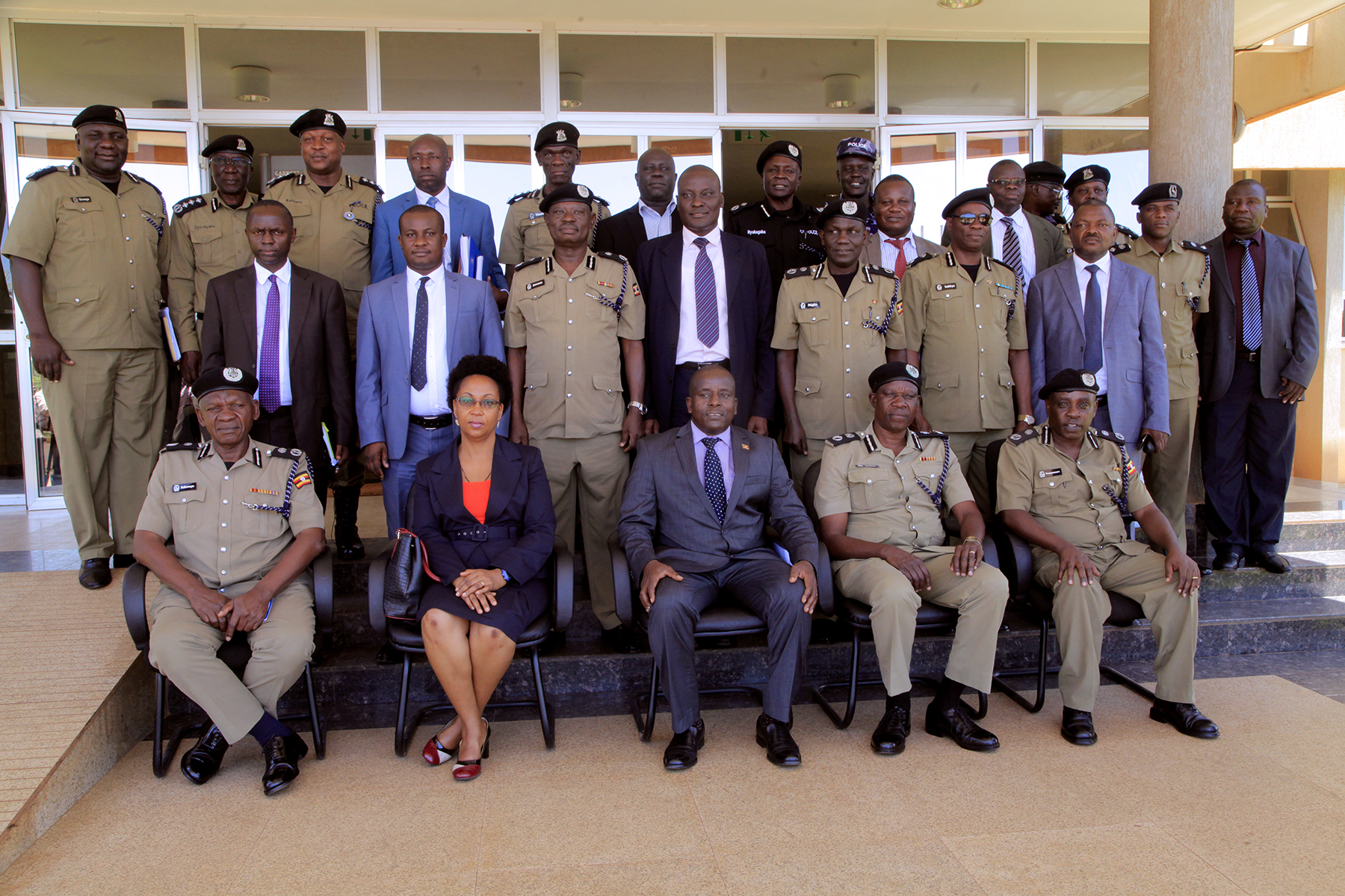 MINISTRY OF PUBLIC DELEGATION LED BY HON. MINISTER OF STATE FOR PUBLIC SERVICE DAVID KARUBANGA AND PERMANENT SECRETARY CATHERINE BITARAKWATE MUSINGWIIRE AND UGANDA POLICE OFFICERS- DIRECTORS AND COMMISSIONERS DURING THE DECENTRALIZATION OF PENSION GRATUITY MANAGEMENT AND PAYMENT PROCESSES AT NA GURU POLICE HEADQUARTERS ON 27TH FEBRUARY 2019