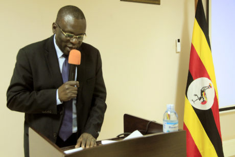COMMISSIONER THOMAS OJOK WHO REPRESENTED THE PERMANENT SECRETARY DURING THE OPENING OF THE CONSULTATIVE WORKSHOP ON PAYROLL MANAGEMENT PROCESS AT CIVIL SERVICE COLLEGE - JINJA ON 8TH APRIL 2019