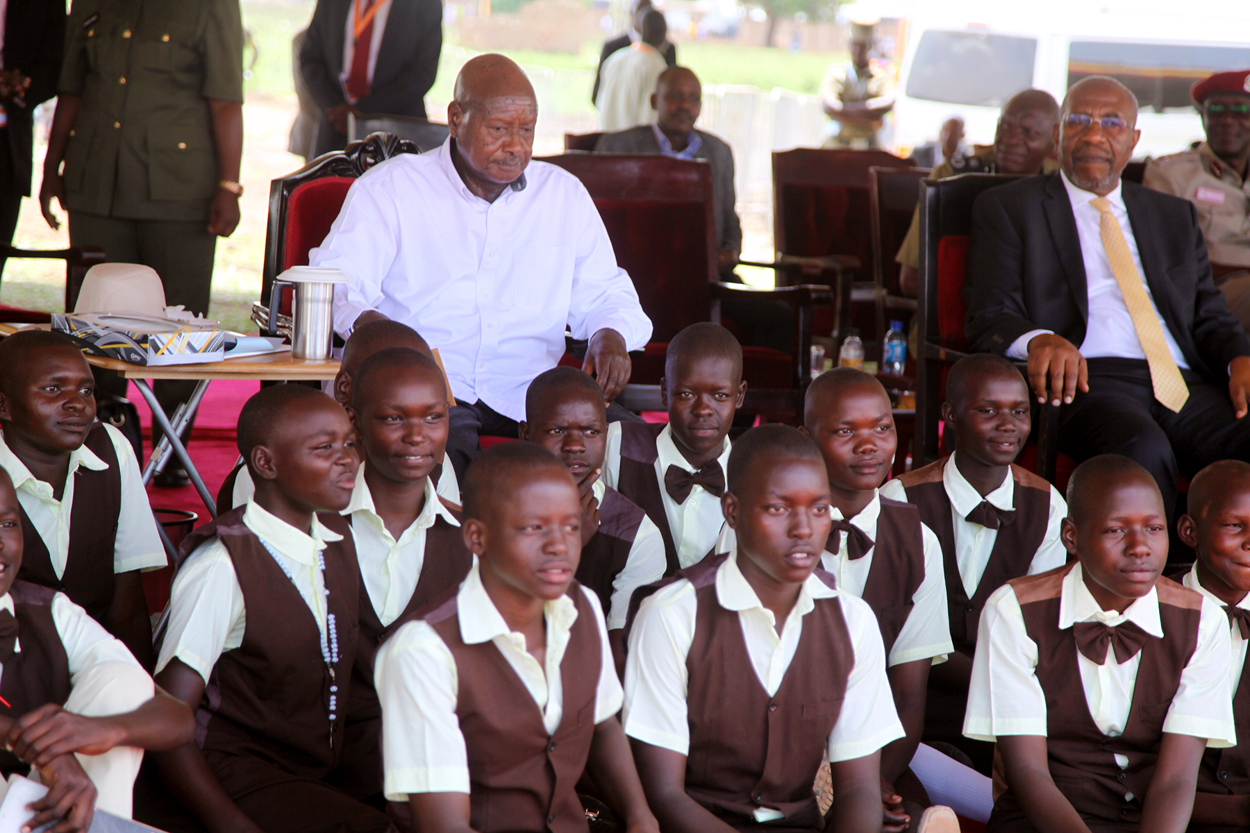 H.E Yoweri Museveni pose with school children during the International labor day 1st May 2019 at Agago district