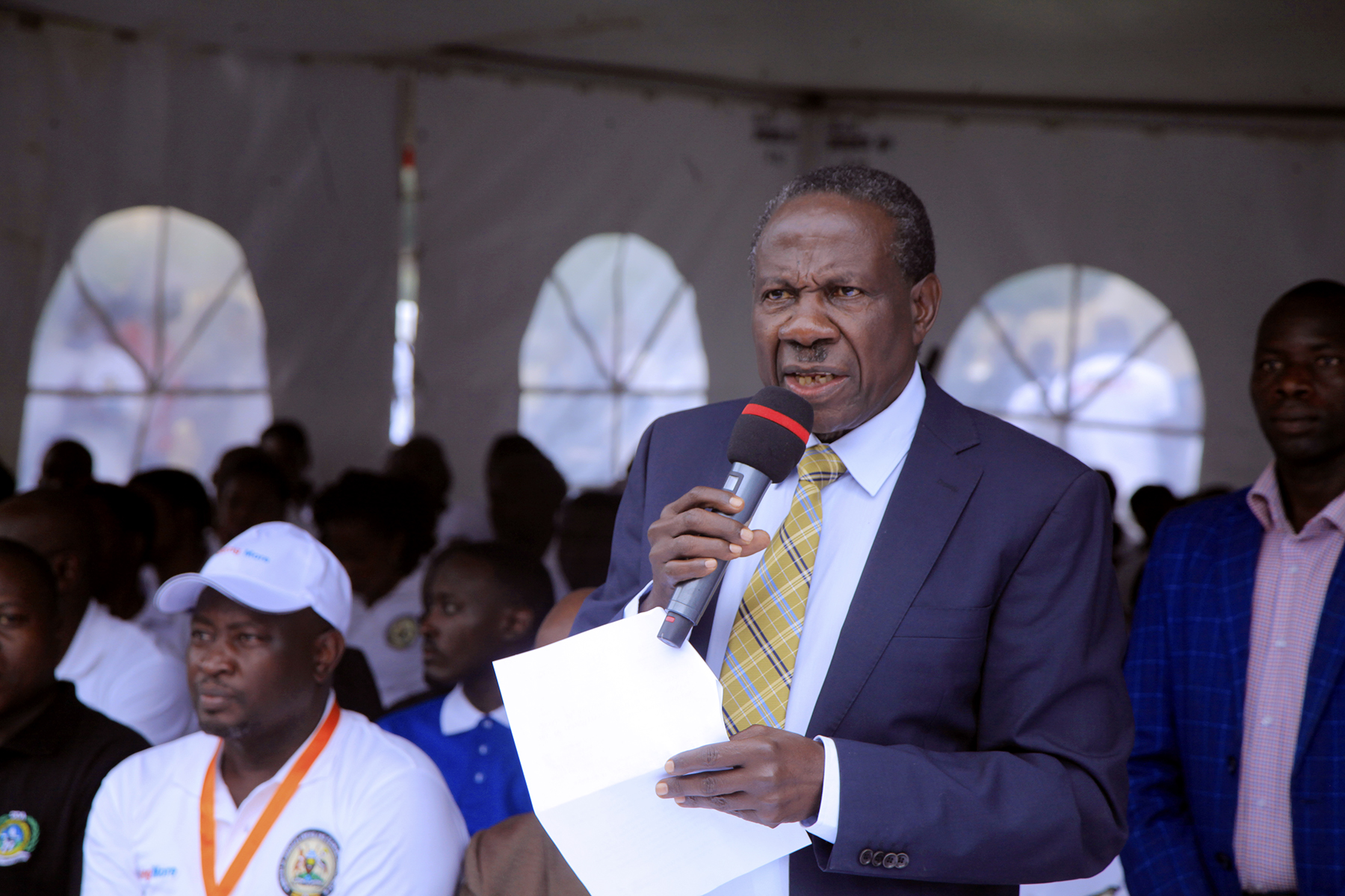 Hon. Matia Kasaijja Minister for Finance, Planning and Economic Development (MOFPED) opens the Budget Exhibition month at Kololo Independence rounds