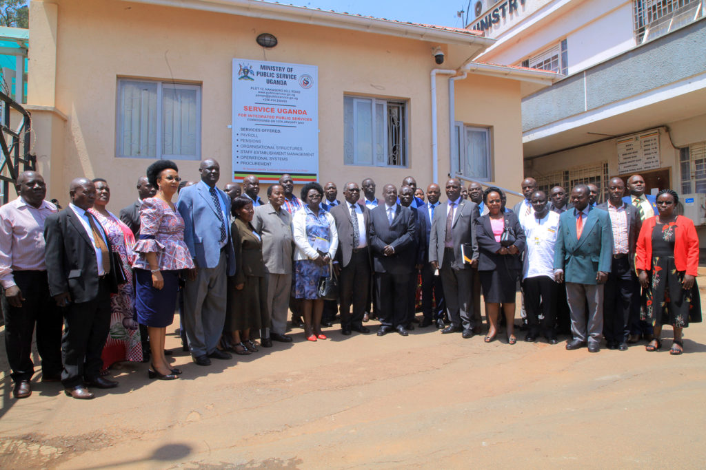 Minister of Public Service Wilson Muruli Mukasa , Permannent Secretary Catherine Bitarakwate together with the Public Service Tribunal Inauguration