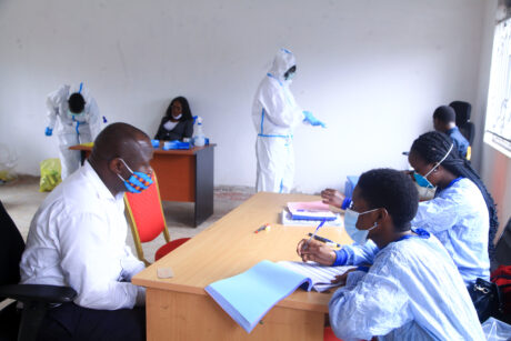 Ministry Staff at the registration desk before the COVID-19 test is conducted
