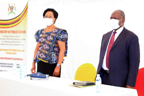 Hon. minister Wilson Muruli Mukasa and Permanent Secretary Catherine Bitarakwate Musinwriire at the Annual Planning Retreat for SMT at National Records Centre and Archives2020