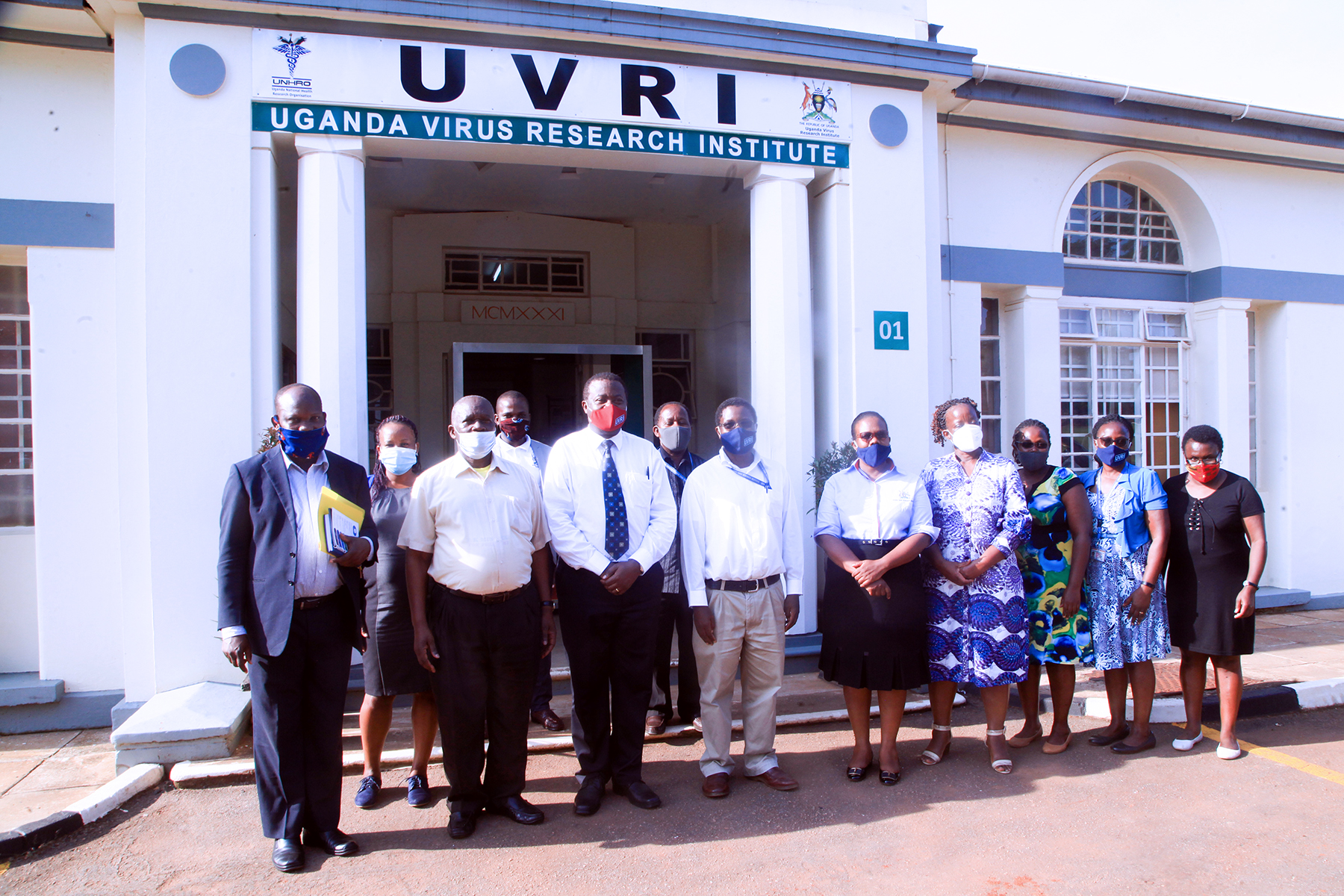 Hon. Minister Wilson Muruli Mukasa in Group Photograph UVRI staff anf Ministry Technical staff on Friday 18th Sept. 2020