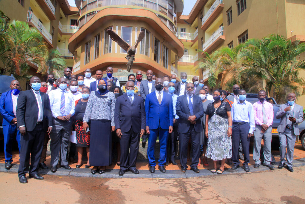 hon.Minister Wilson Muruli Mukasa together with Government Inspectors at Ridar Hotel on 6th October, 2020